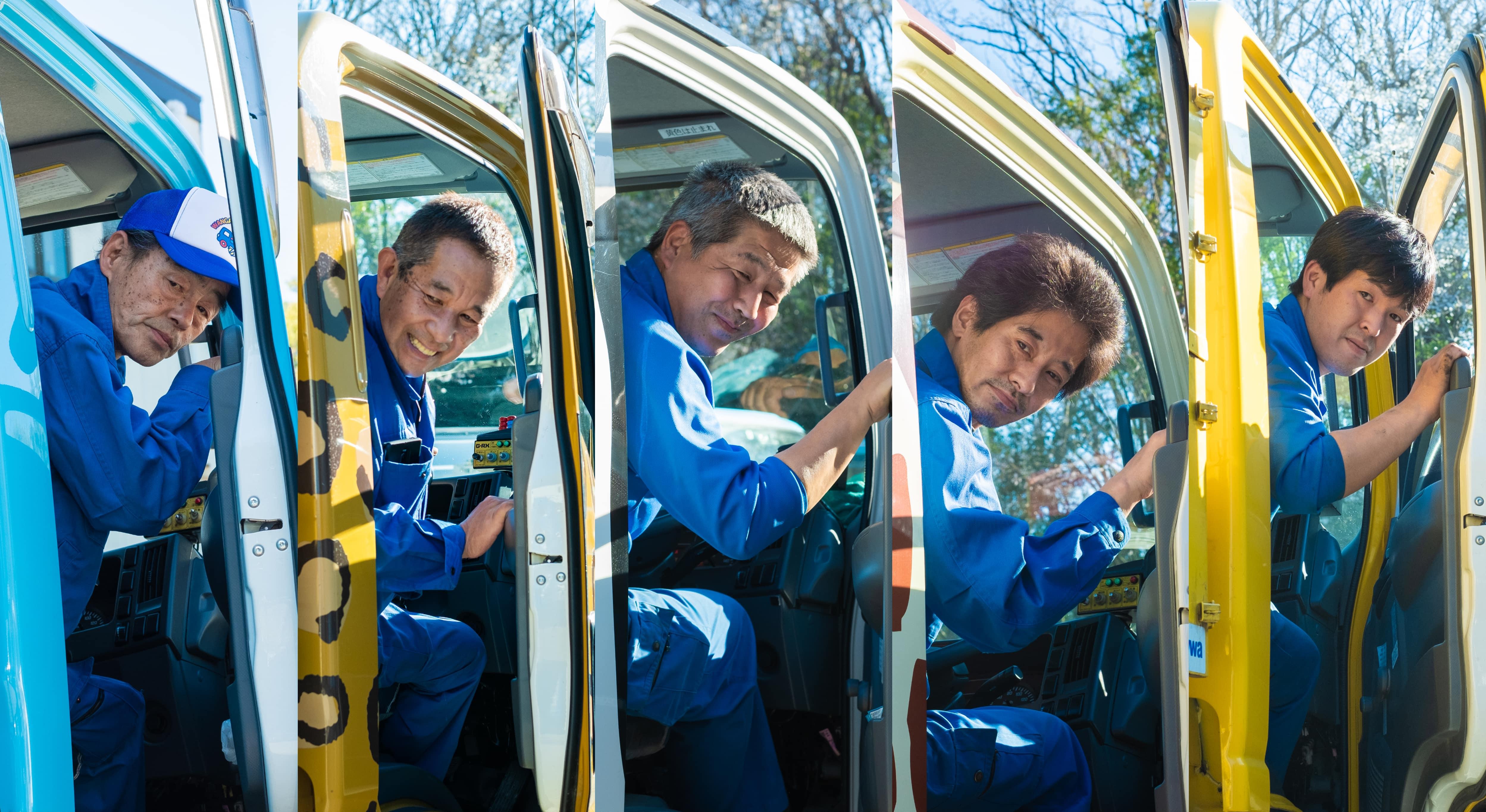 清掃車から顔を覗かせるドライバースタッフたち